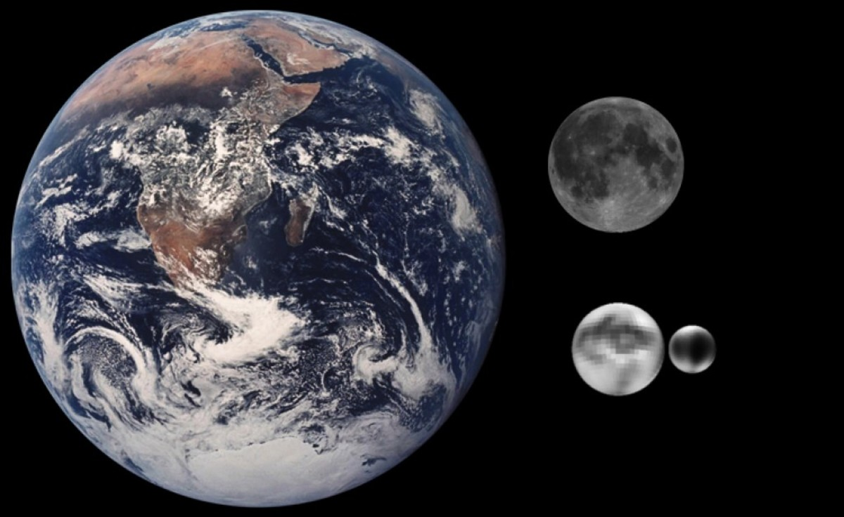 Even a tiny dwarf planet like Pluto would have a disastrous impact on the Earth.  Here is our Earth and Moon compared to Pluto.