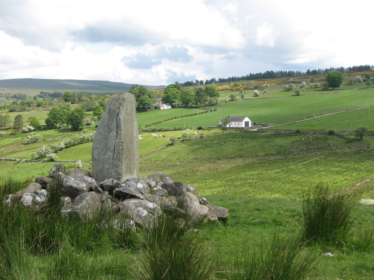 A standing stone with Ogham inscription in County Tyrone.