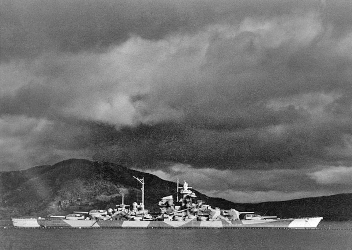 WW2: The German battleship Tirpitz in Bogen Bay in Ofotfjord, near Narvik, Norway, during World War II. Circa 1943-1944.