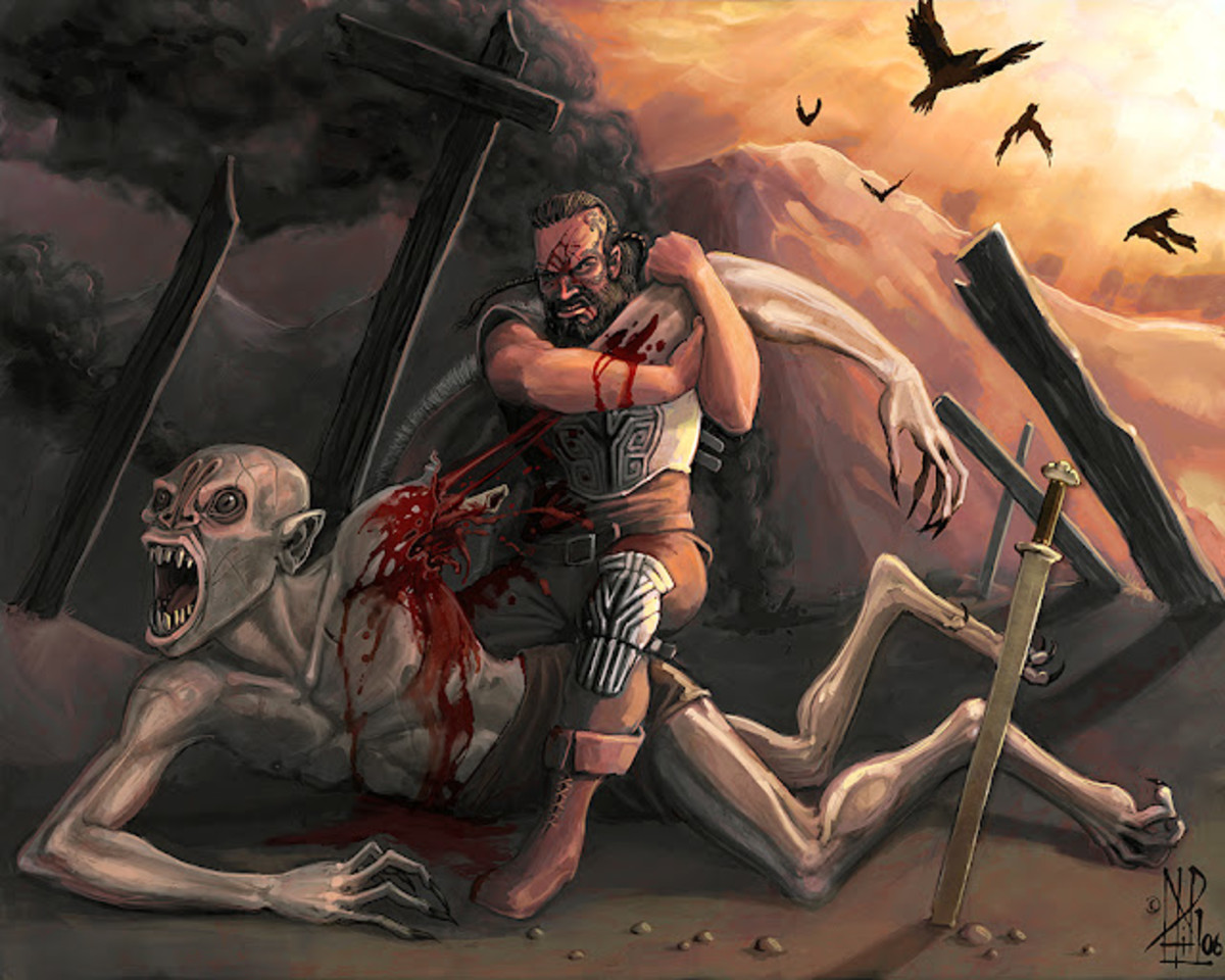 Beowulf ripping off Grendel's arm. Hubris had its advantages