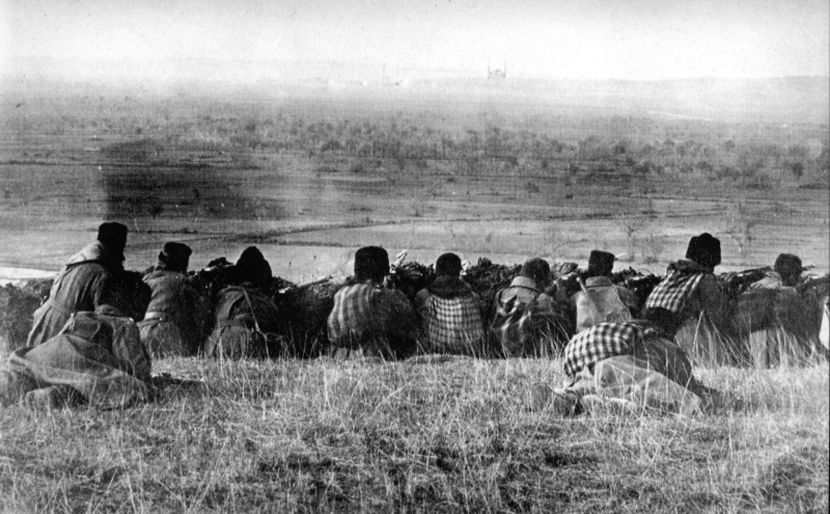 1912 Balkan War. Bulgarian soldiers waiting to start their assault.