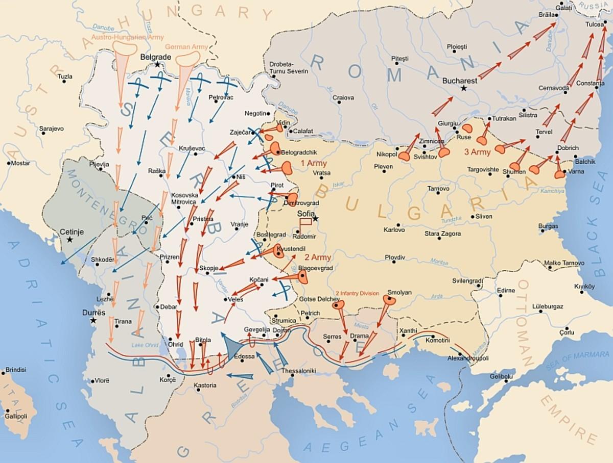 English: Map of German, Austro-Hungarian and Bulgarian advances during World War I