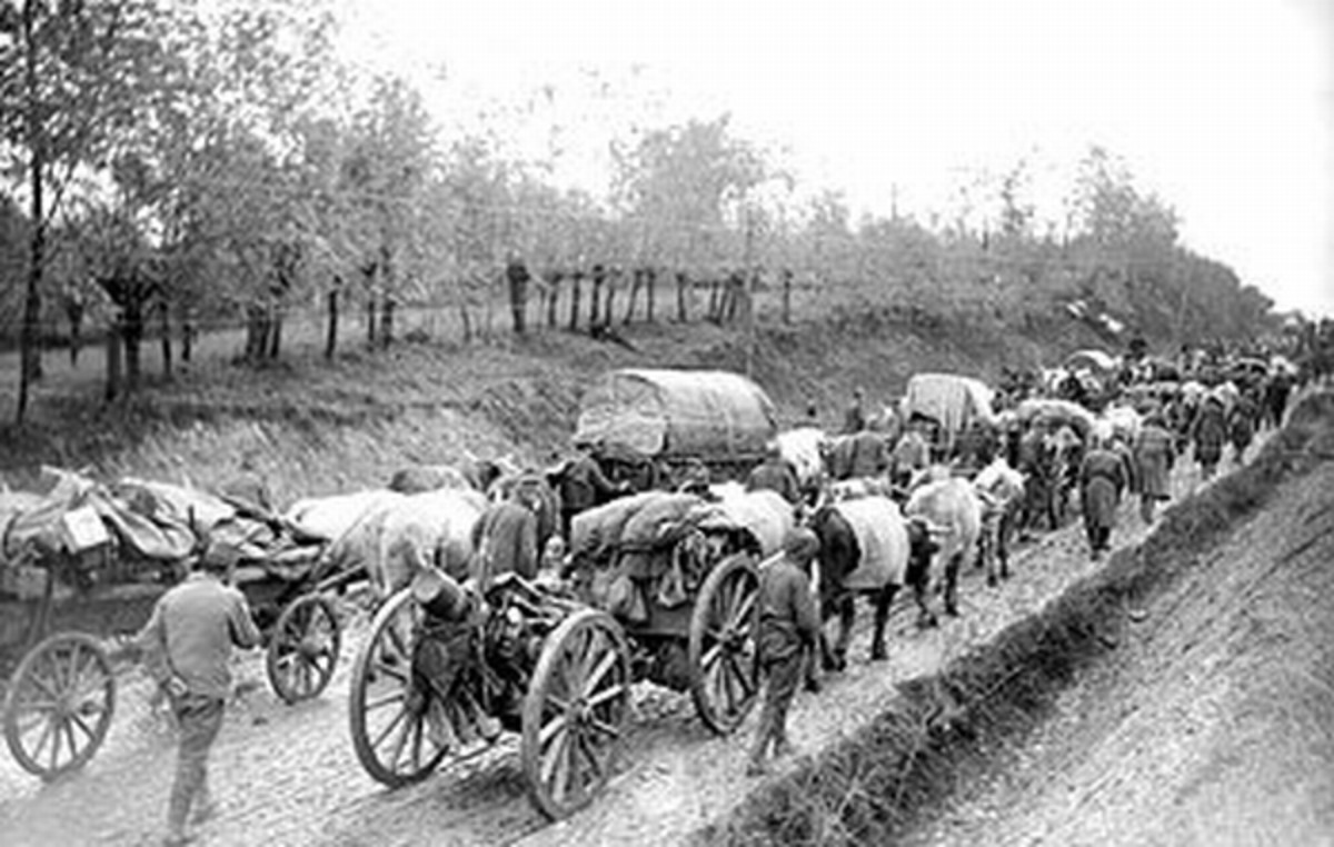 WWI: Ox drawn transport and artillery of the Serbian Army during its retreat to Albania.