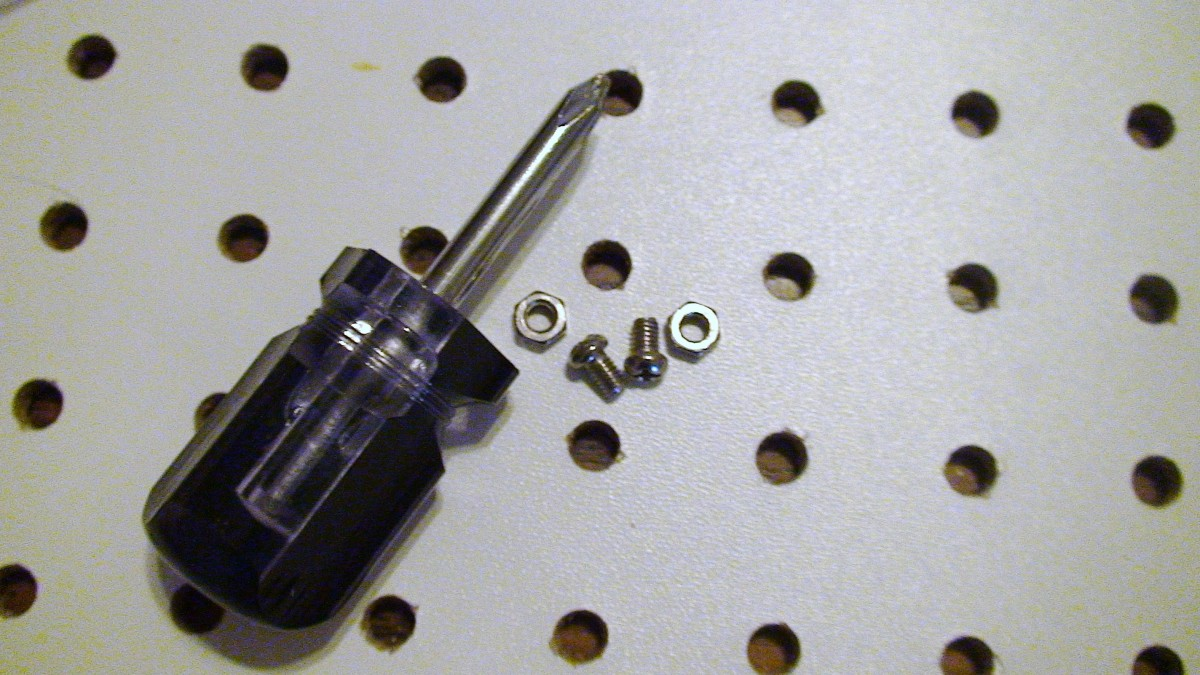 Screws and nuts with appropriate screwdriver for screw heads.