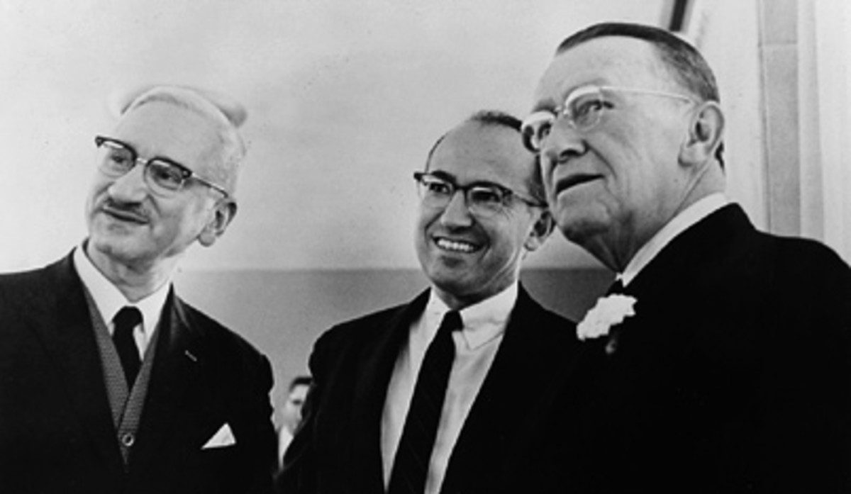 Due to the animosity that Sabin felt for Salk, this photo of - left to right - Sabin, Salk, and O'Connor is a rare one.
