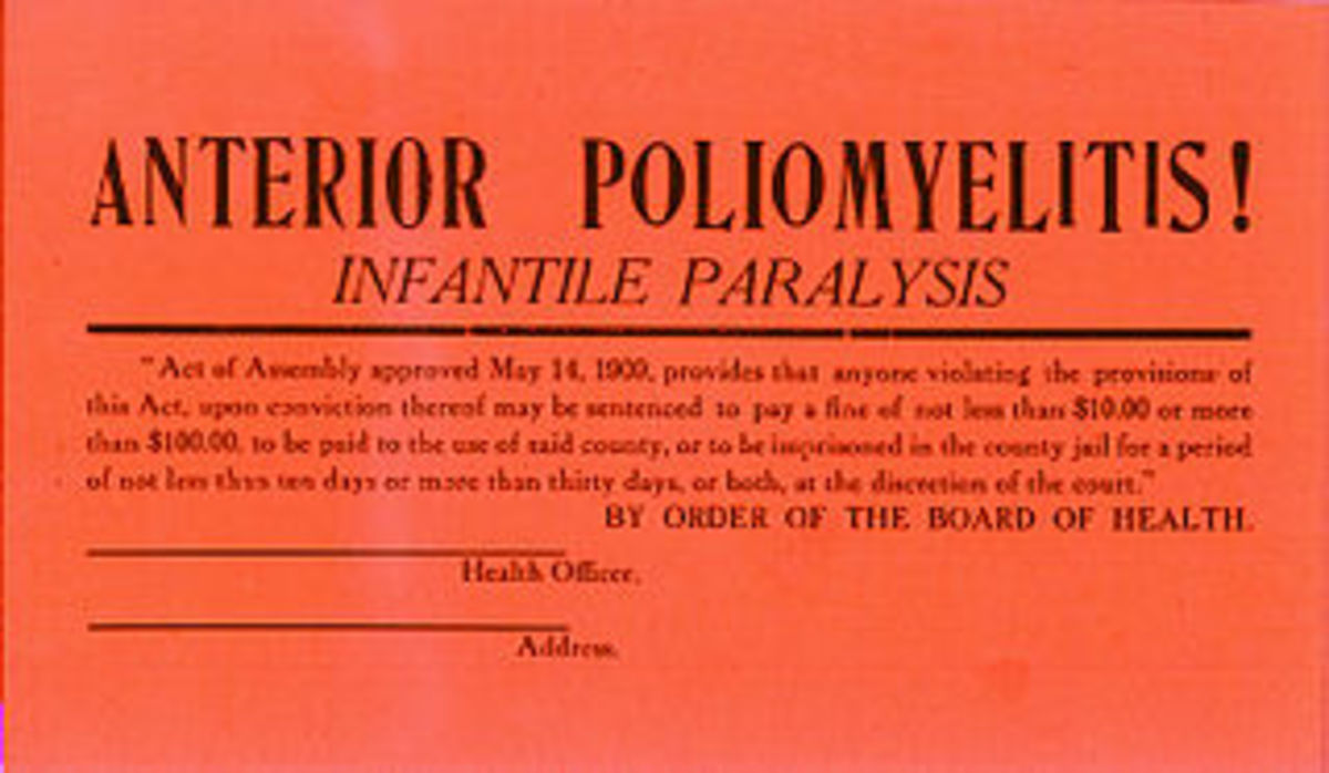 Quarantine card - in the early 1900's, these were posted on houses where polio was found.