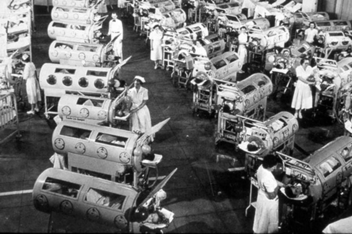 Hospital Polio respiratory ward in L.A. 1952