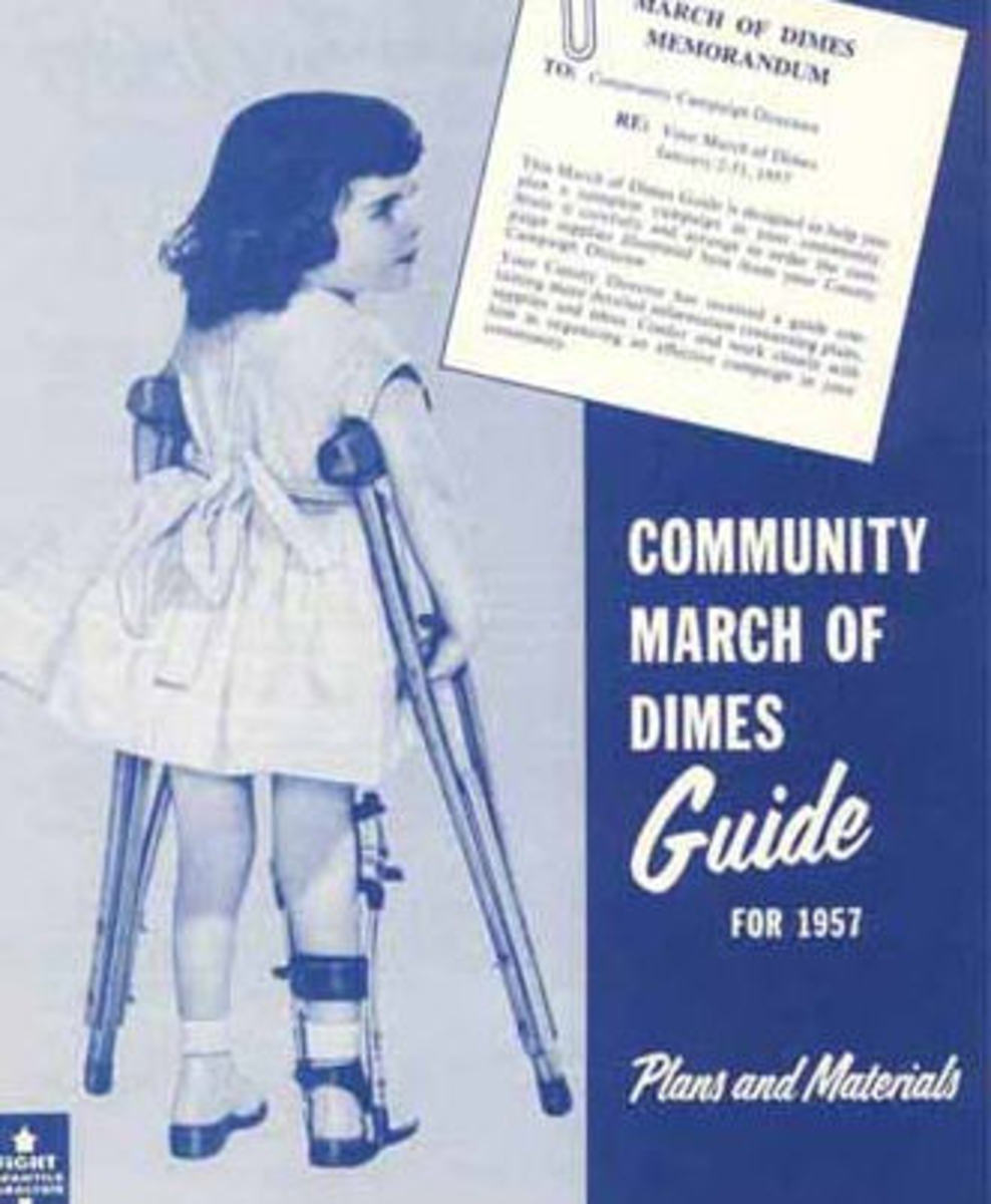Pictures of crippled children on March of Dimes posters reminded the public of polio's symptoms.
