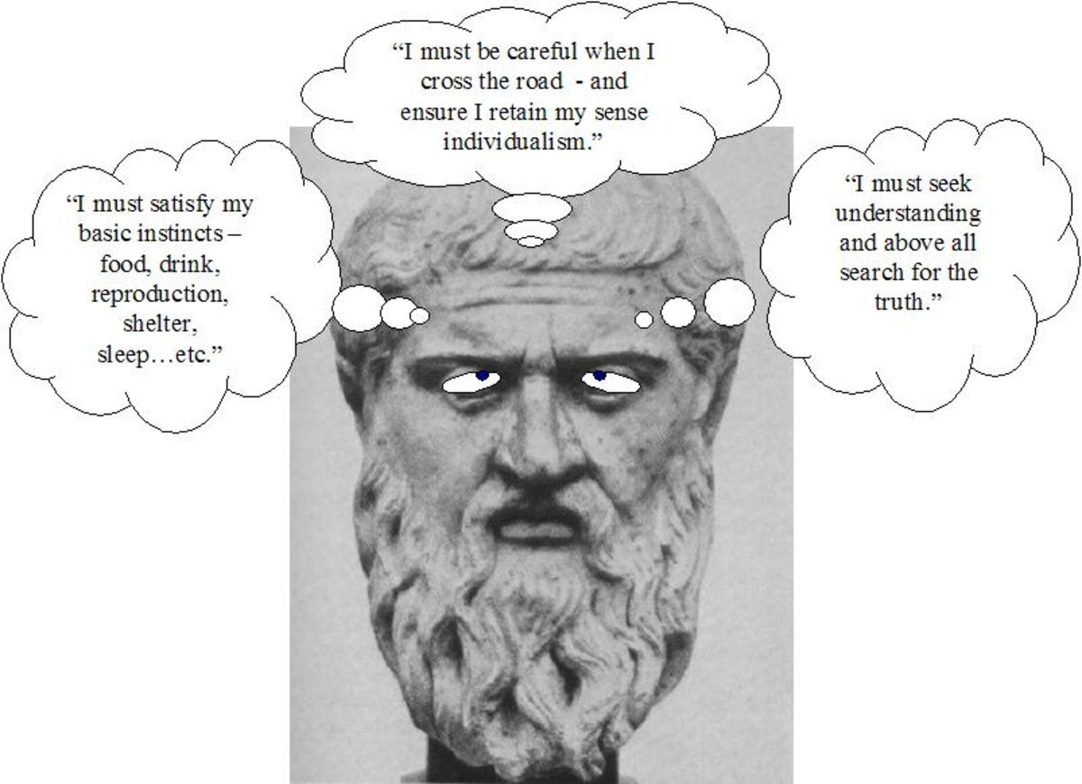 An example of the sort of thoughts the three elements of the 'soul' allow. Desire, Spirit, Reason in that order.