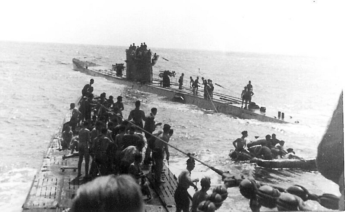 WW2: Shuttle service for shipwrecked persons from the Laconia between U156 (foreground) and U507 (background). 15 September 1942.