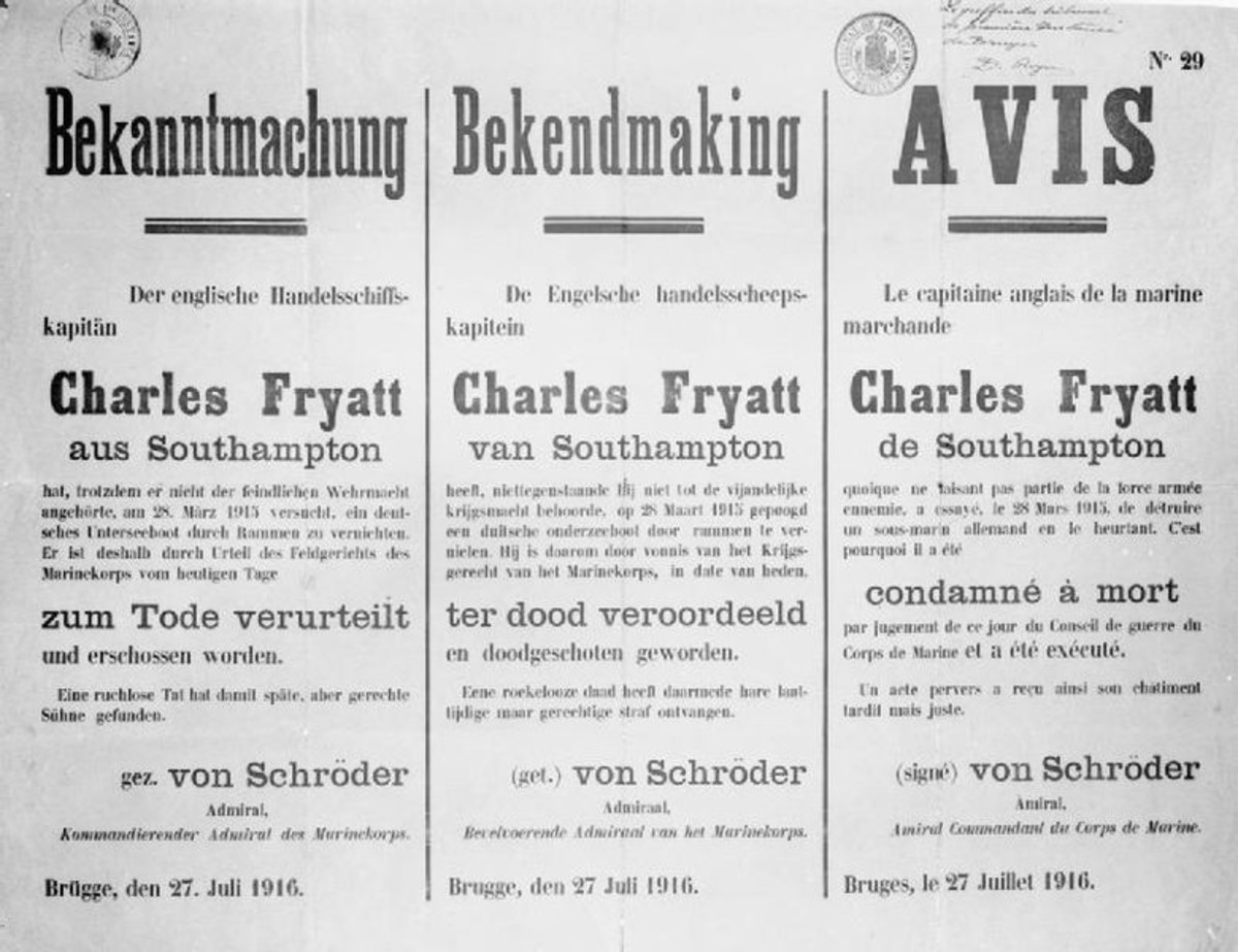 World War 1: A German notice written in German, Dutch and French, announcing the death sentence and execution of Captain Charles Fryatt, 27 July 1916.