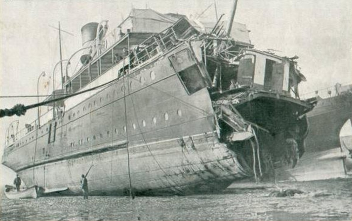 """World War One: Crossing the Channel was dangerous. A cross-channel ferry (the """"Sussex"""") torpedoed in 1916."""