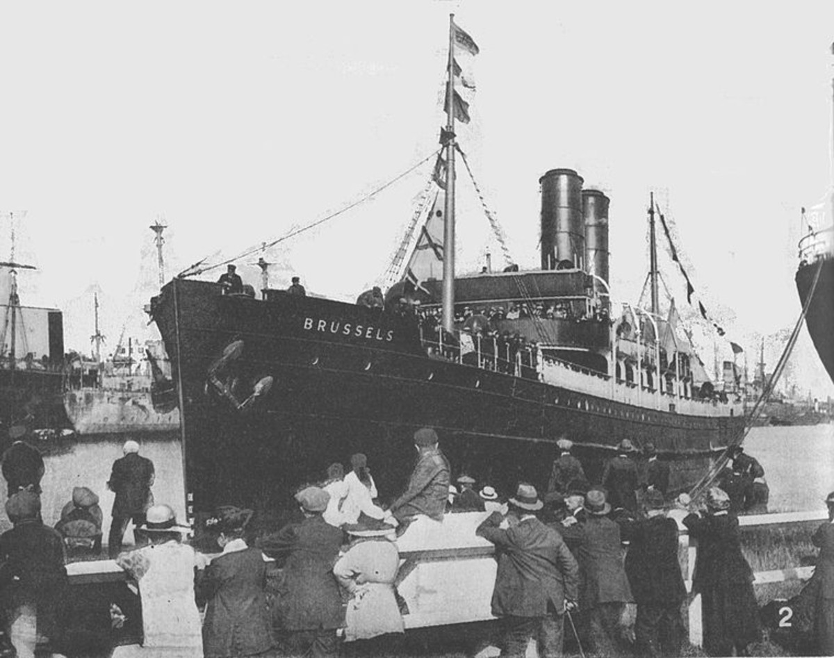 WW1: The Great Eastern Railway steamer Brussels, commanded by Captain Charles Fryatt, who was tried by a court-martial on July 27, 1916, and shot by the Germans for attempting to ram a submarine which had attacked his ship.