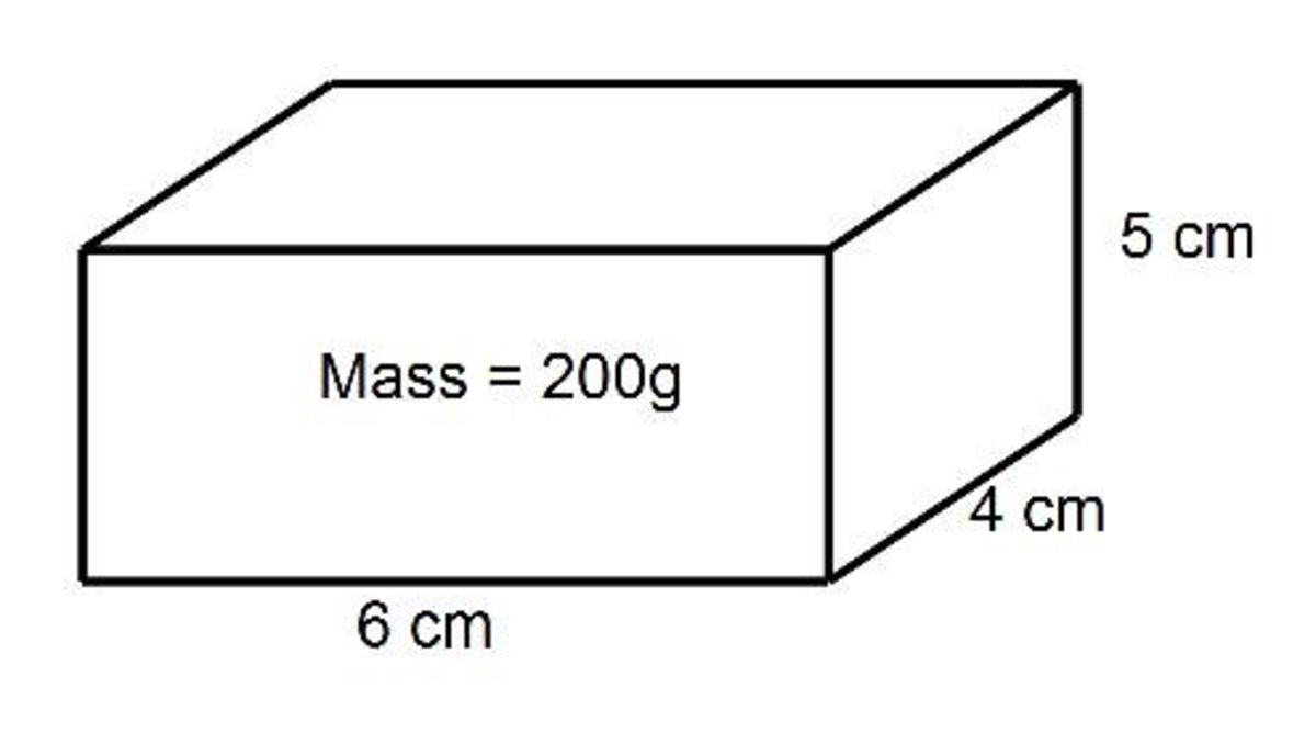 In this first example, we need to calculate the density of this rectangular prism, or cuboid.