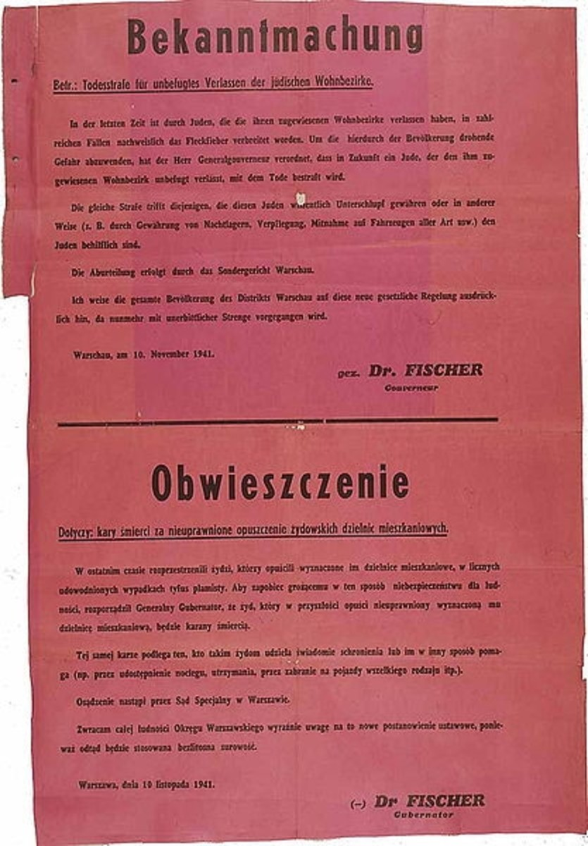 WWII: Nazi announcement of the introduction of the death penalty for Jews leaving the ghettos and for Poles helping them; dated Nov. 10th, 1941