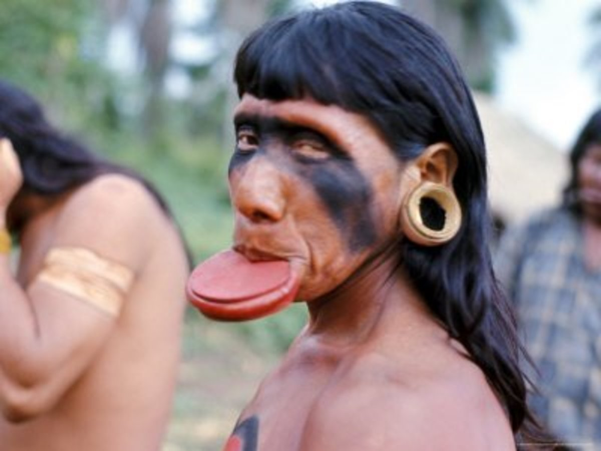 Suya Indian Wearing a Lip Plate. This Is a Disappearing Art Form