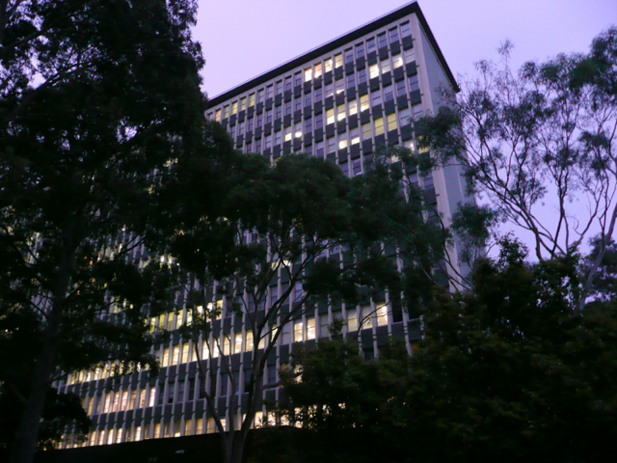 Arts building at Monash, Australia. So many stay late to work through the night.