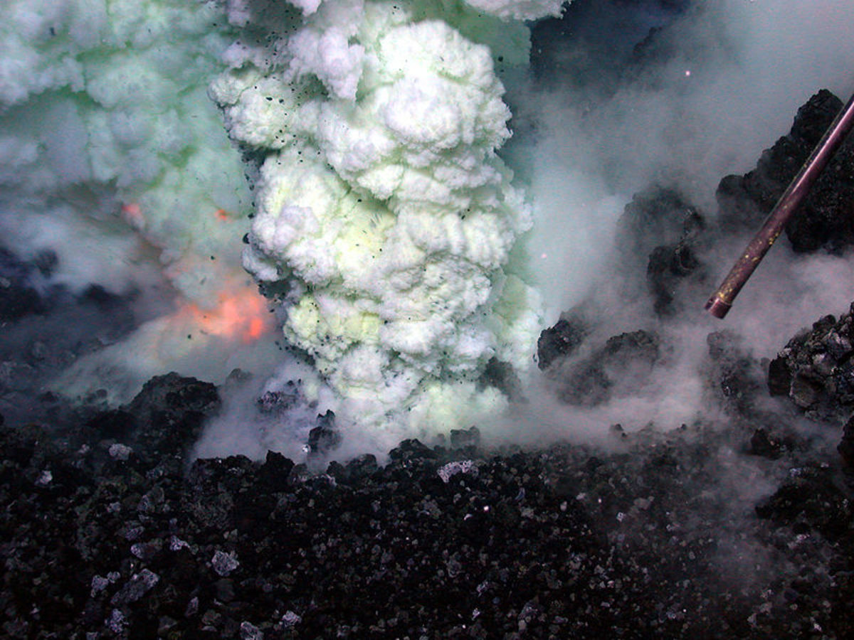 A submarine volcano on the ocean floor