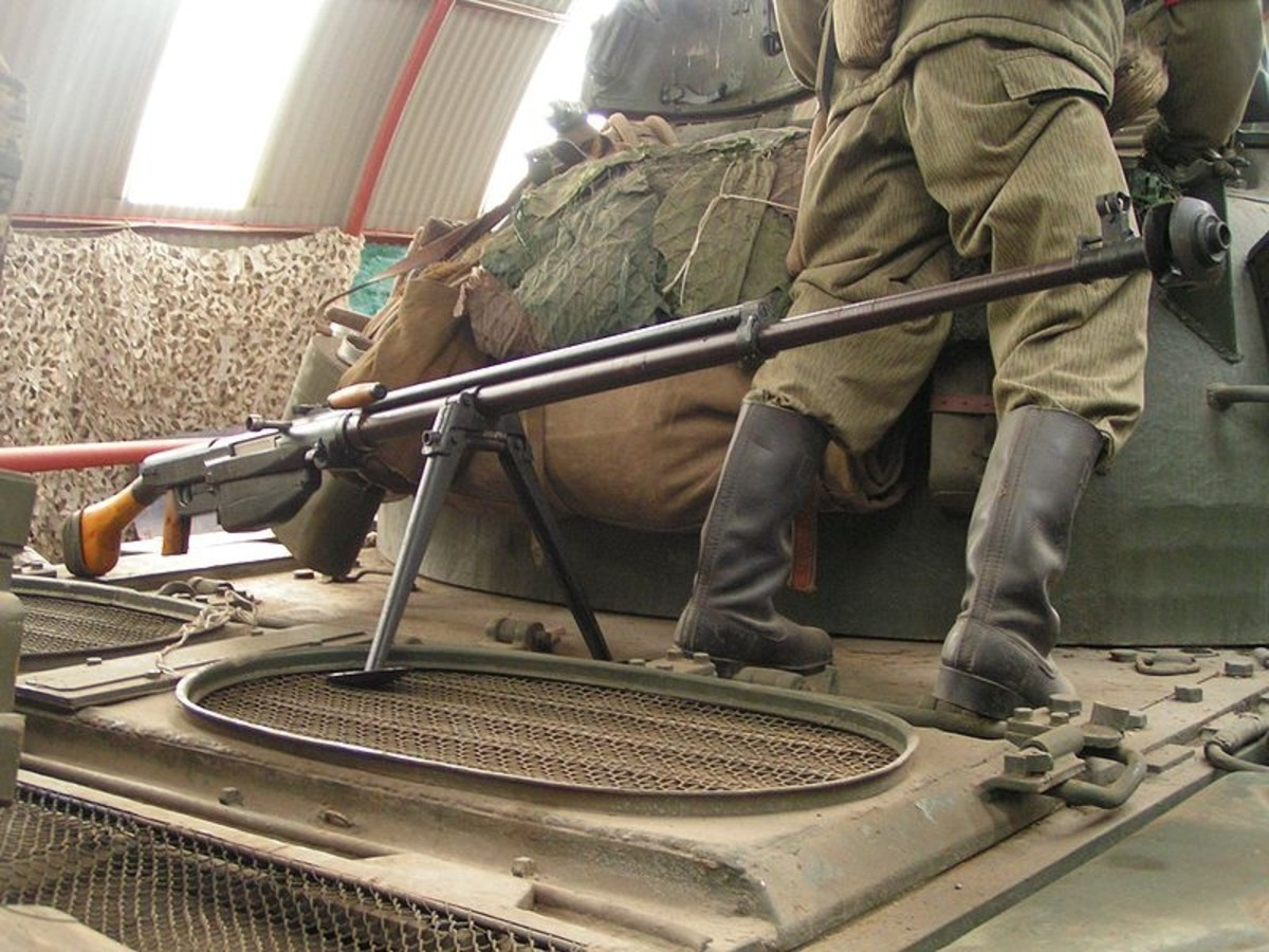 World War Two: Anti-tank rifle, a russian PTRS-41 similar to that used by Pavlov; Caliber 14,5 mm. Still in service today.