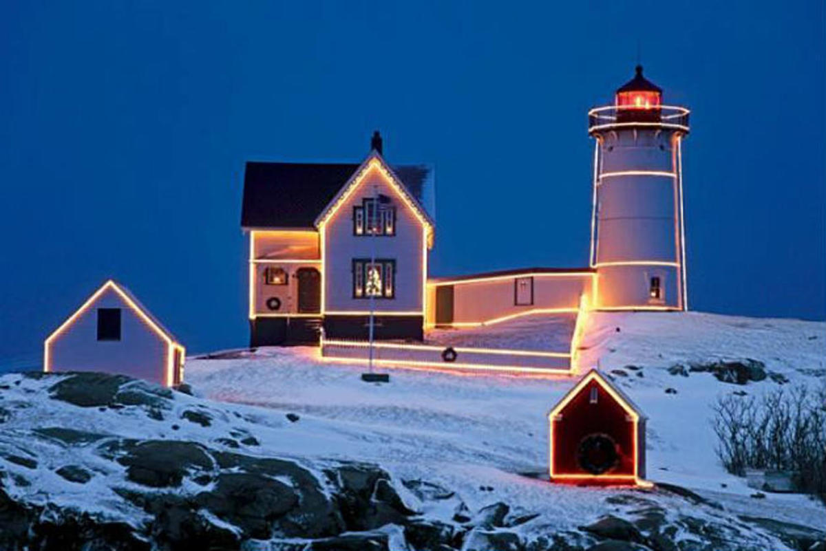 The Nubble Light in Southern Maine dons Christmas lights during the yuletide season.