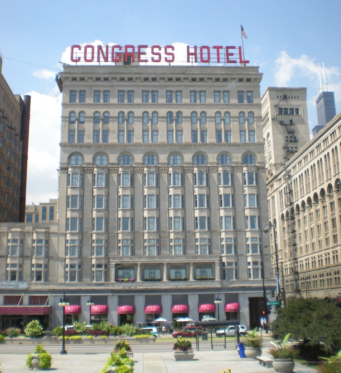 Congress Hotel as seen from Congress Plaza, August 2012.