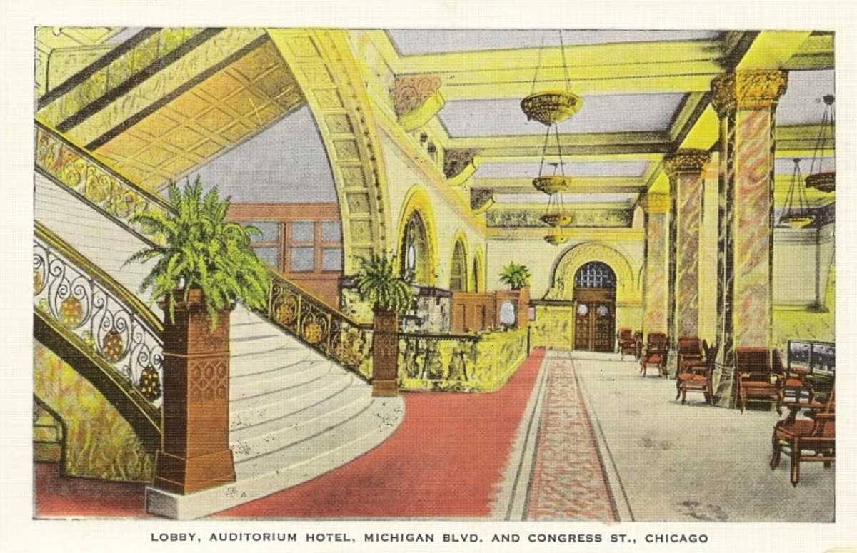 Lobby of Auditorium Hotel in an early 20th Century postcard.