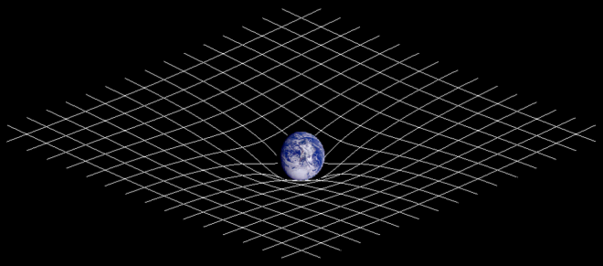 An illustration of how mass distorts spacetime. The greater the mass of an object, the greater the curvature.