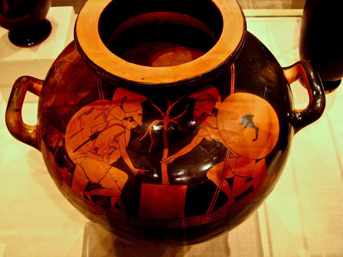 Ajax and Achilles gaming (a red-figure hydria from the Metropolitan Museum of Art, ca. 490 BCE)