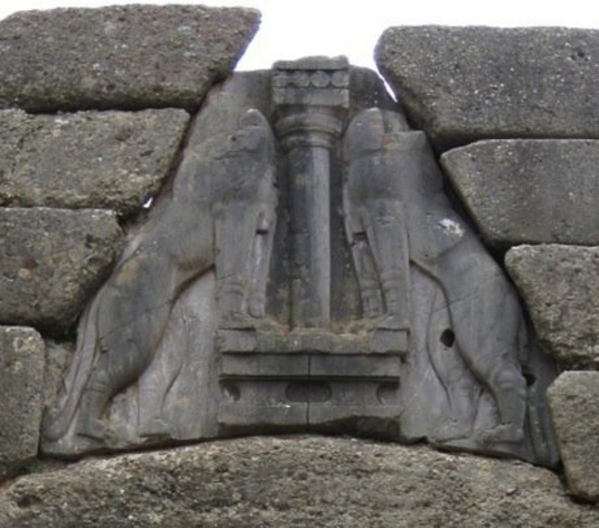 Detail of the monumental Lion's Gate in Mycenae at what is called Agamemnon's Palace