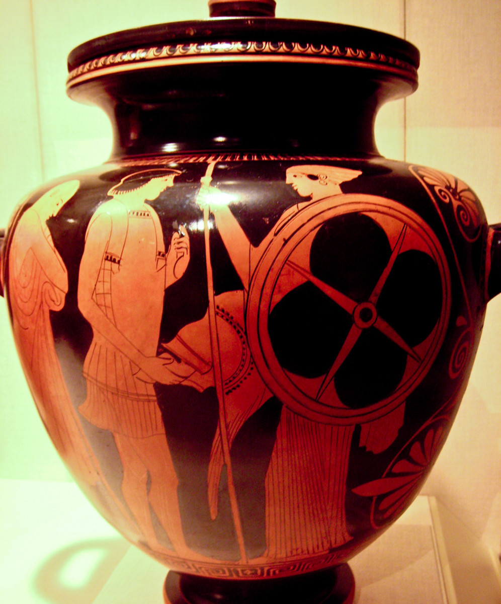 Menelaus reclaiming his wife Helen (a red-figure stamnos from the Metropolitan Museum of Art, ca. 470–460 BCE)