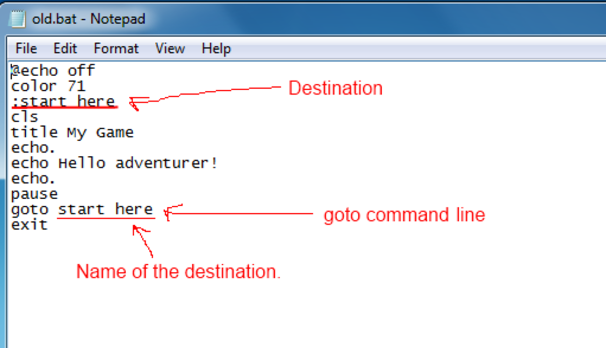 example of a goto command.