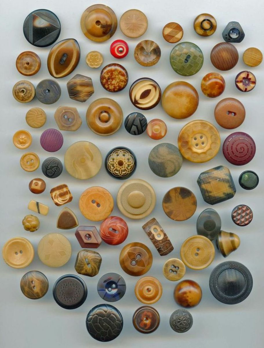 An array of buttons carved from vegetable ivory, the dense meat of the tagua nut