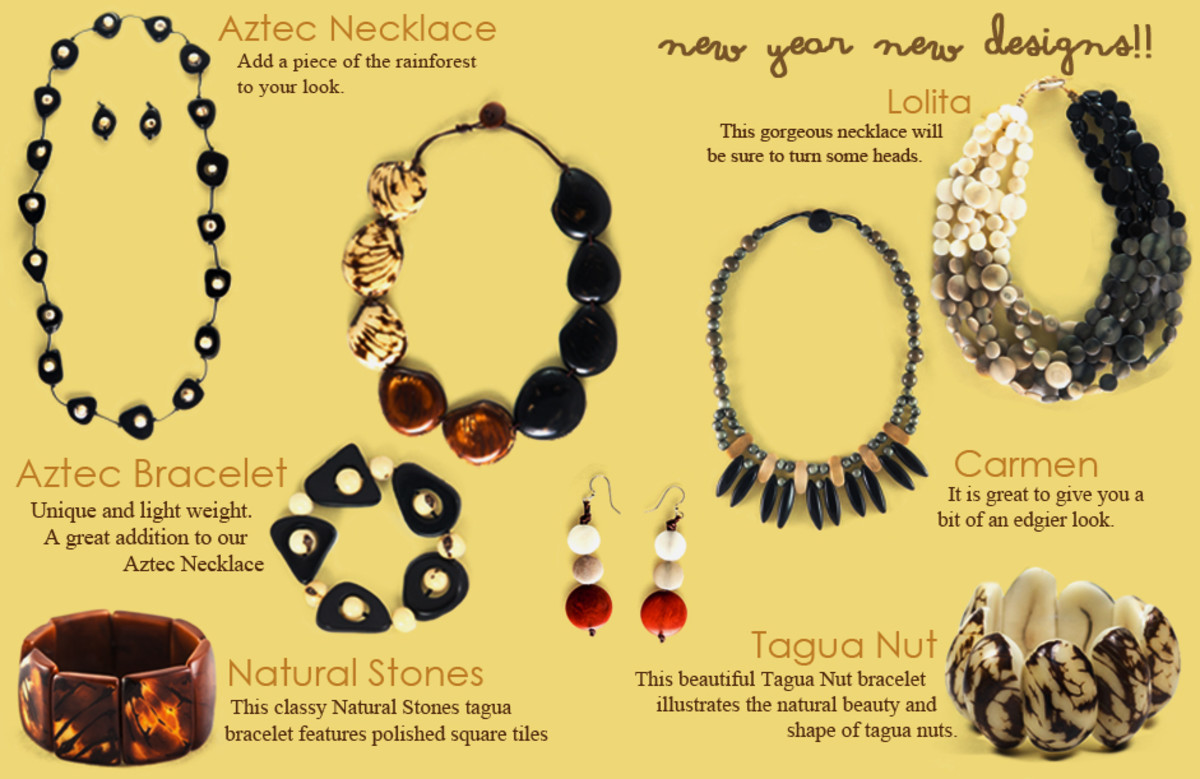 A catalog page from Organic Tagua Jewelry which displays the versatility that is possible when working with vegetable ivory.