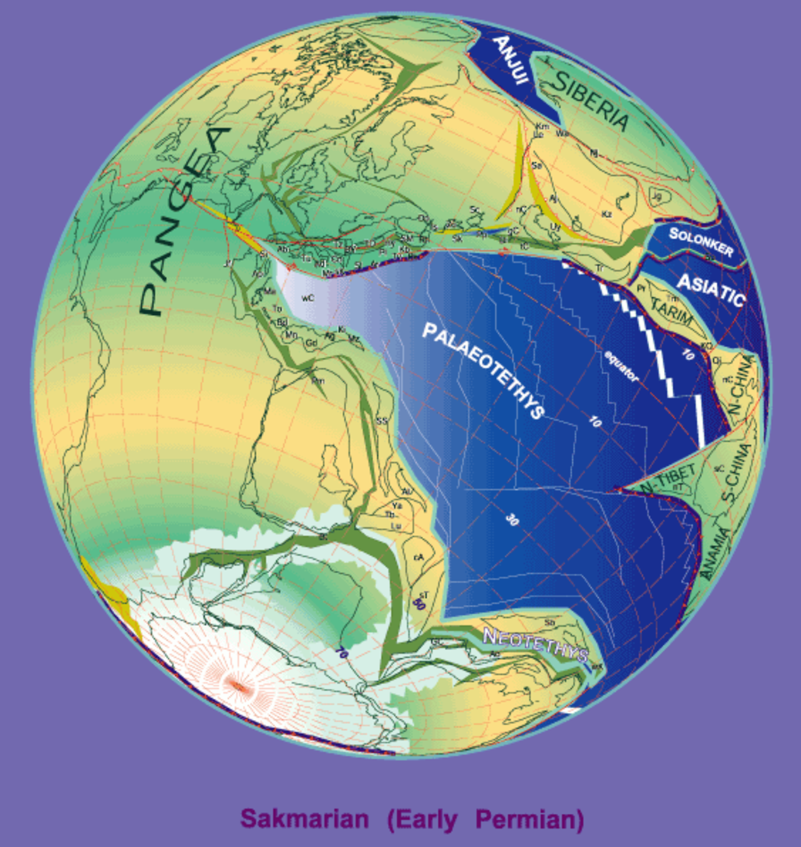 A depiction of the supercontinent Pangea which completed its formation at the start of the Permian Period.