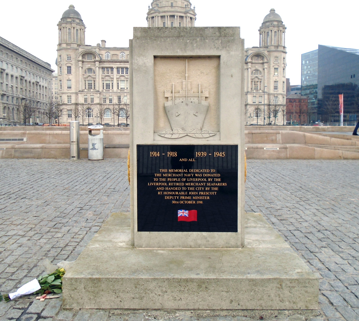 The Merchant Navy Memorial in Liverpool at Pier Head, near the River Mersey.
