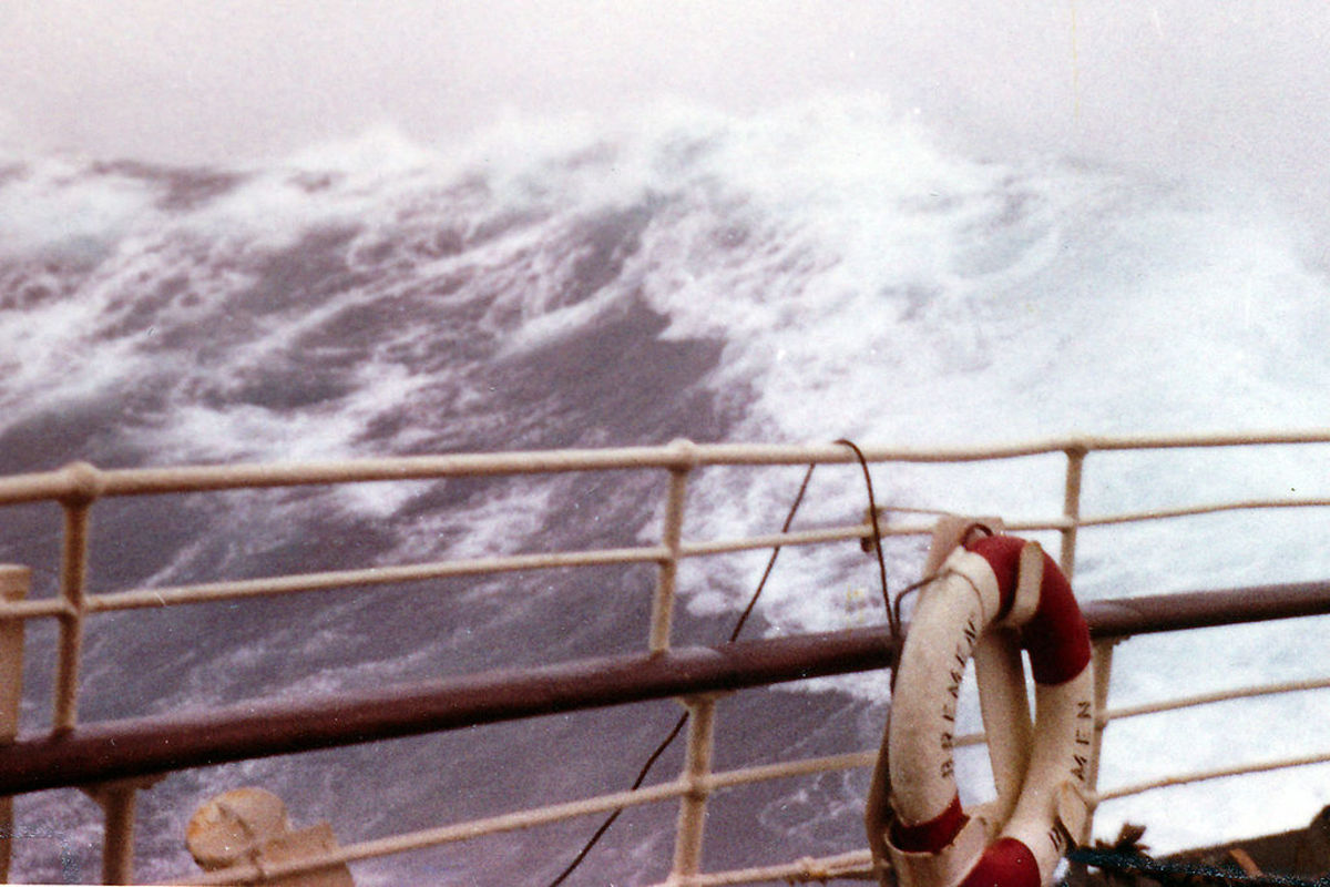 A ship navigating the raging seas of the North Atlantic