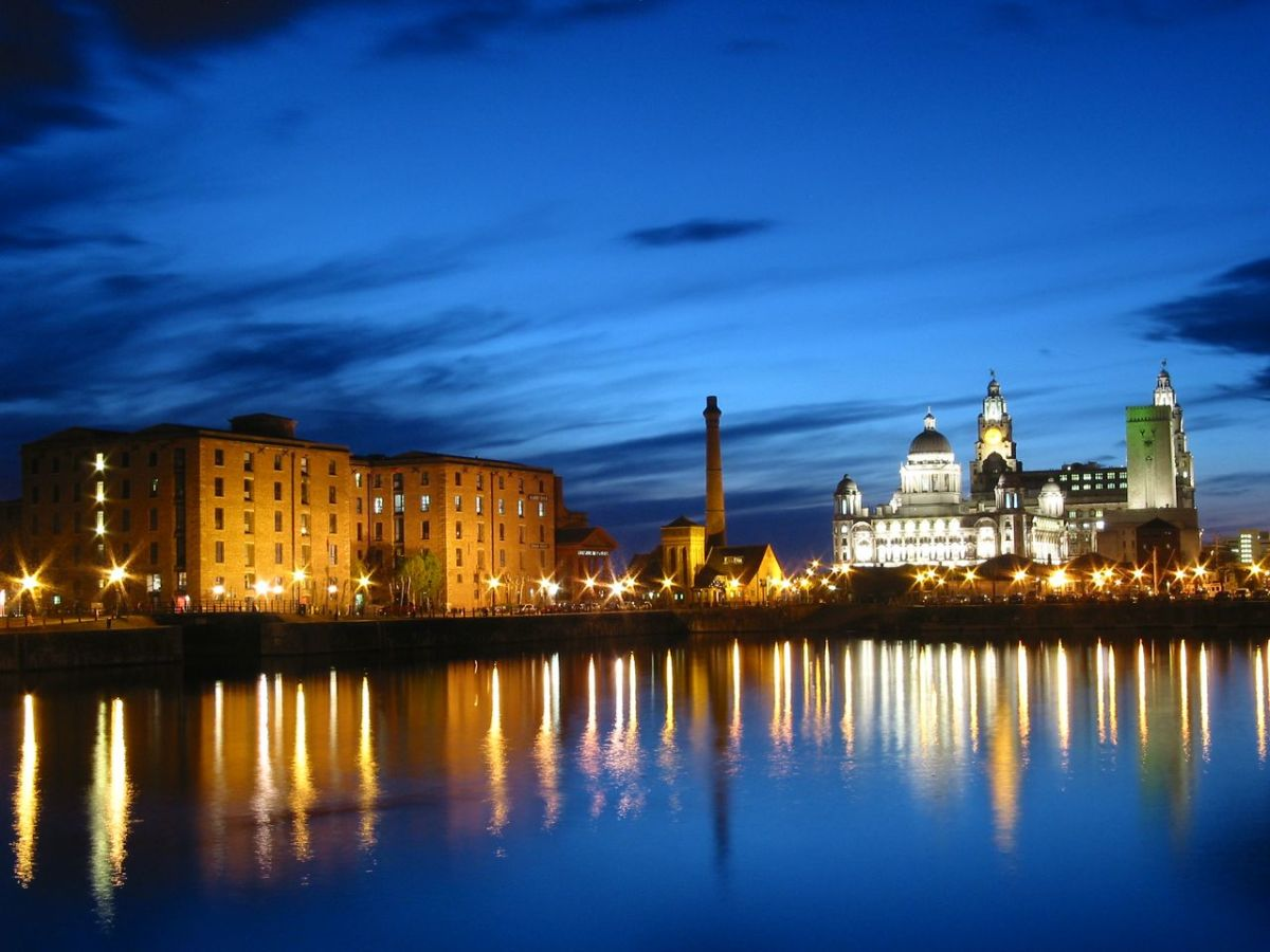 Albert Docks at night, on the River Mersey, Liverpool UK