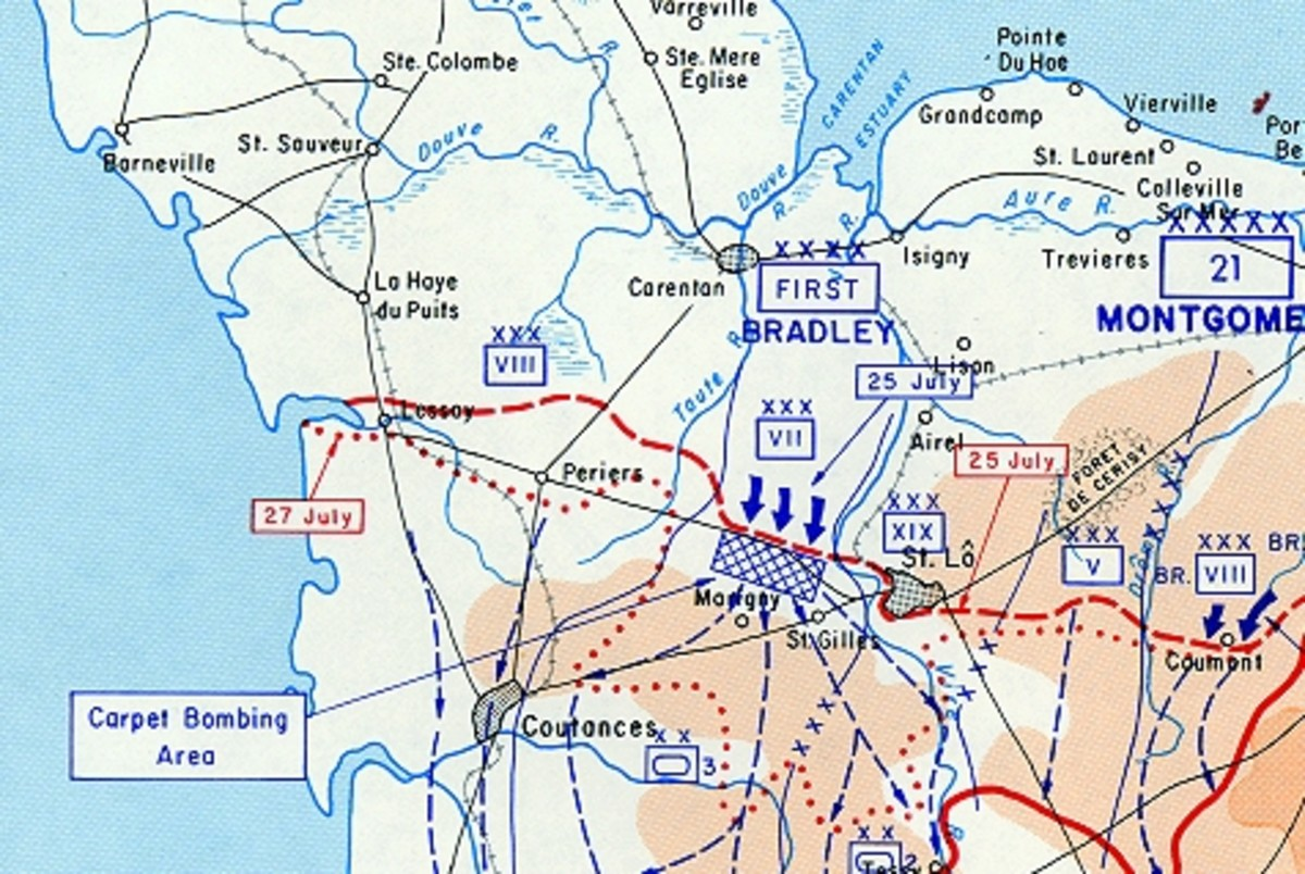 WWII: Saint Lo Breakthrough - 25-31 July 1944. Note the carpet bombing area where General McNair was killed.