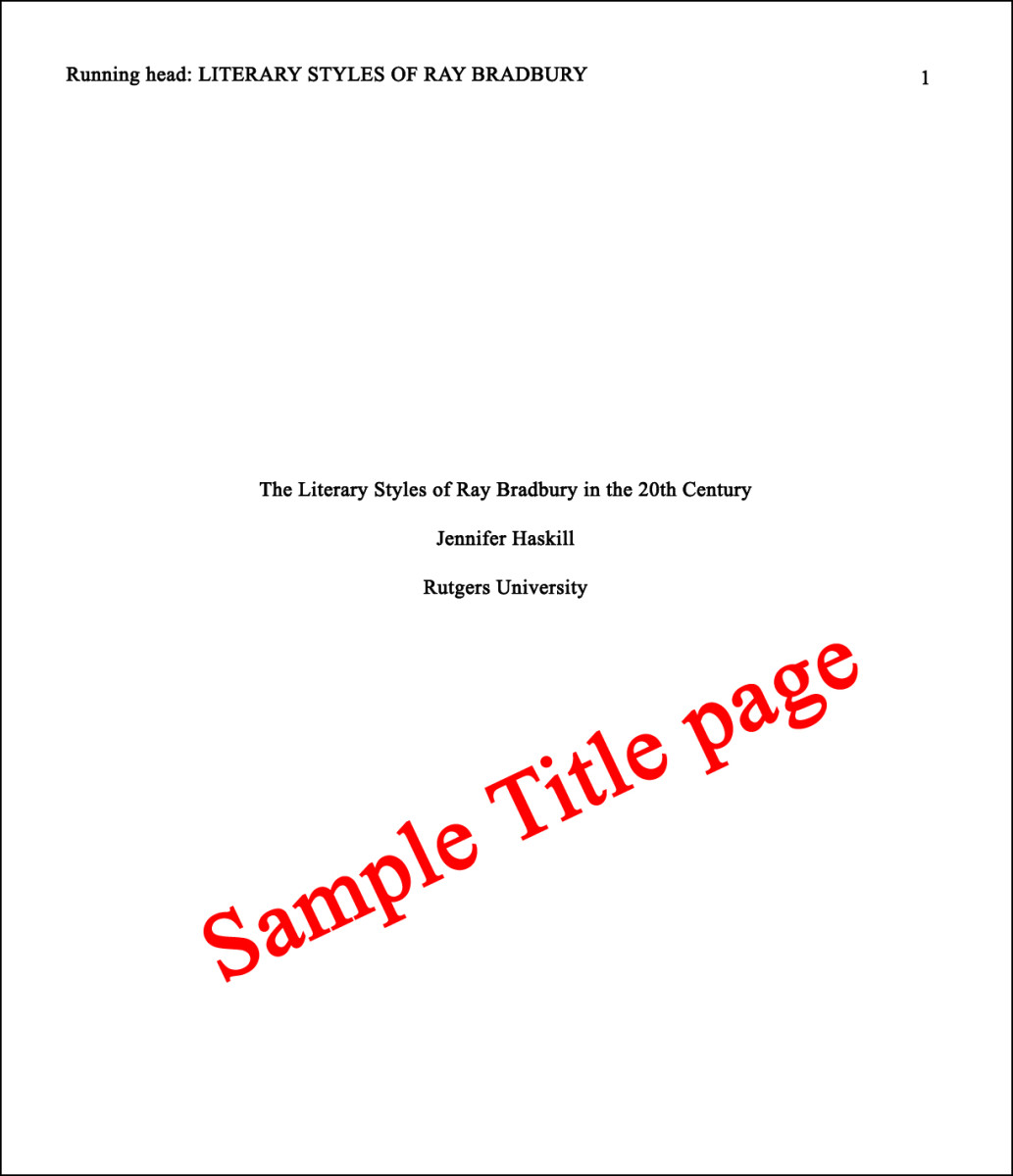 Sample title page for APA style