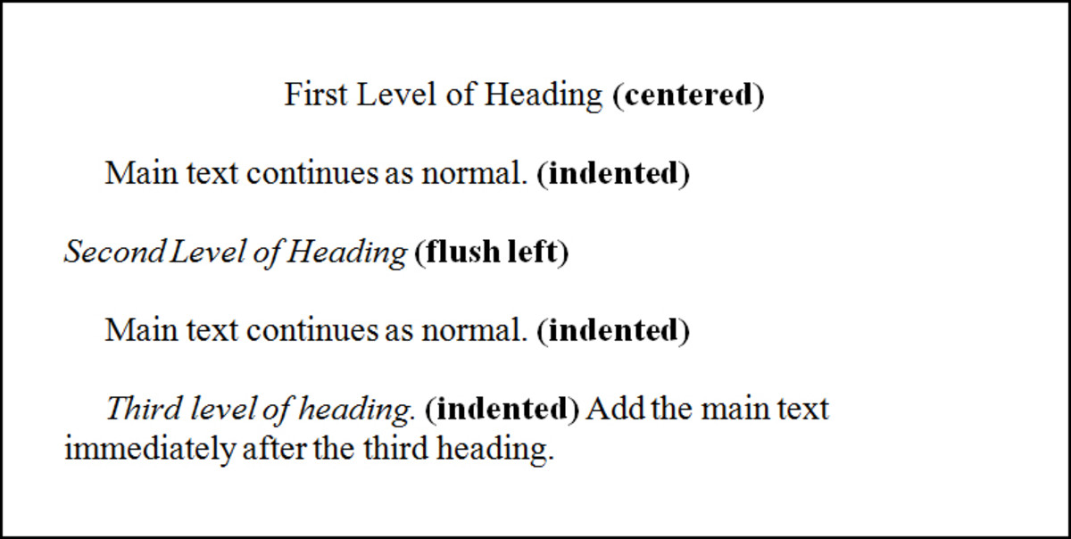 Example of First Level of Headings in APA Style