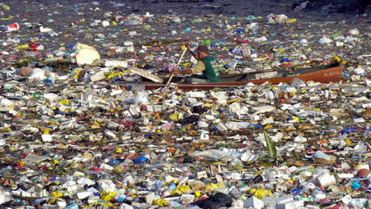 "This photo is often used as an indication of the severity of the ""gyre"" trash island, but this photo was taken in Manila harbour."