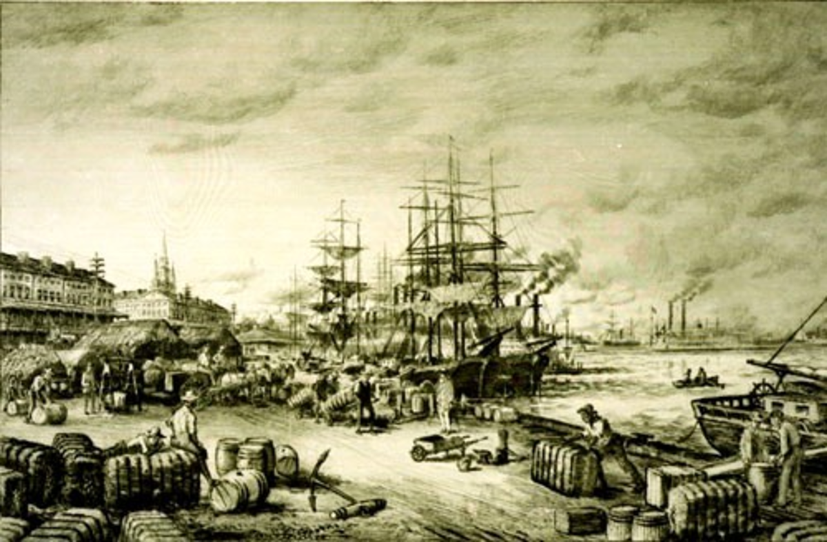 NEW ORLEANS WATERFRONT IN THE 19TH CENTURY