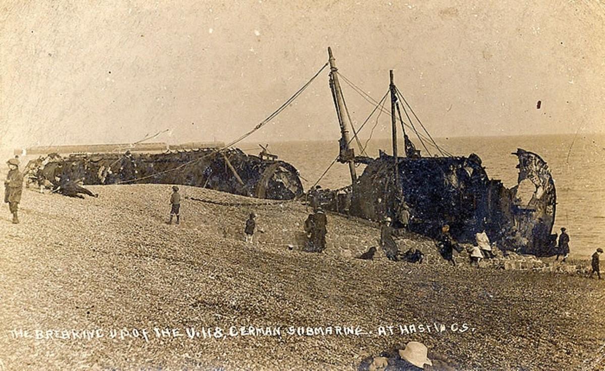 WW1: The breaking up of the U118, German submarine at Hastings