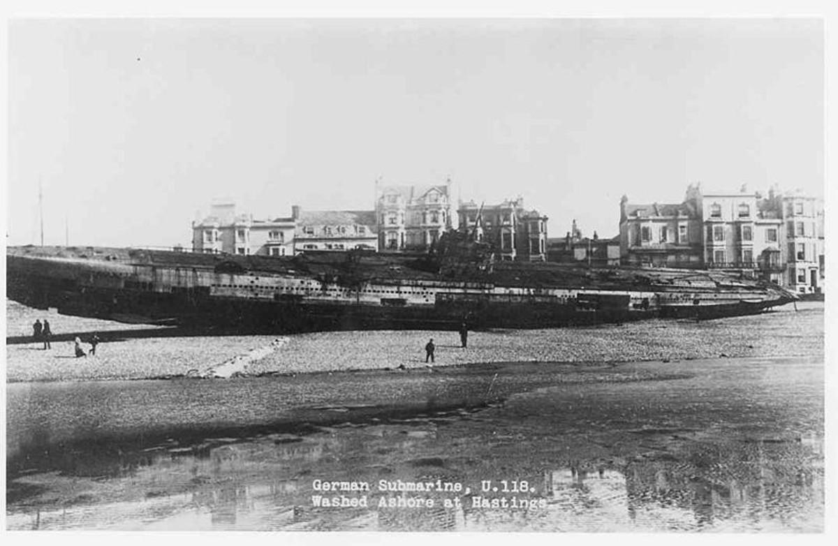 WW1: U-118 washed ashore at Hastings, Kent