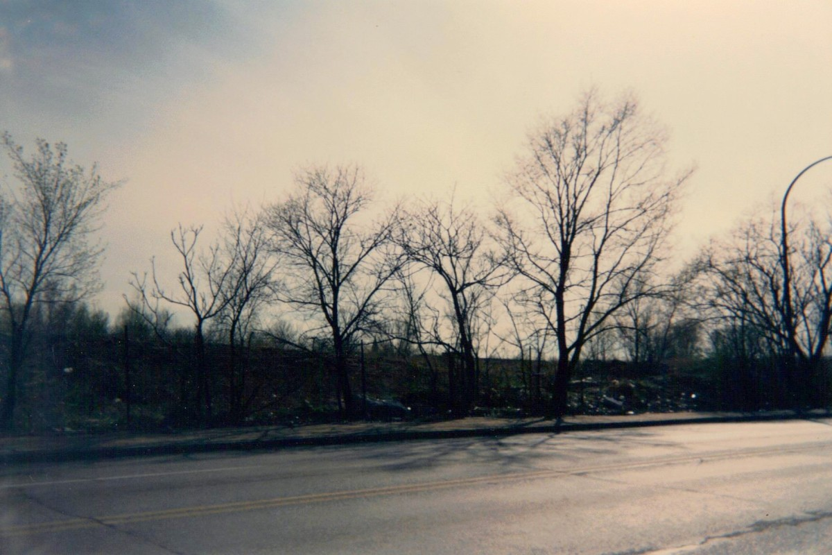 The Pruitt-Igoe site looking south on Cass Avenue at 23rd Street in April, 1996.