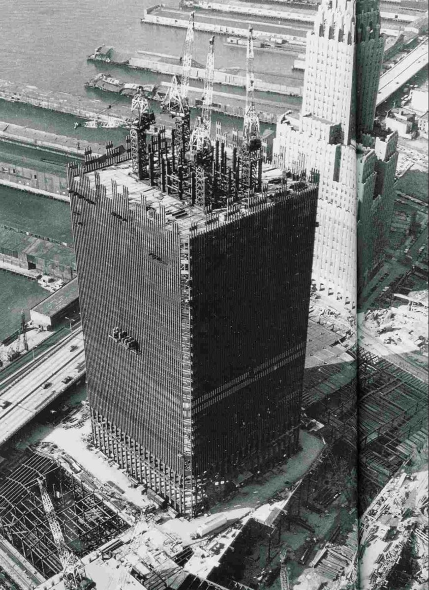 World Trade Center under construction, circa 1968.