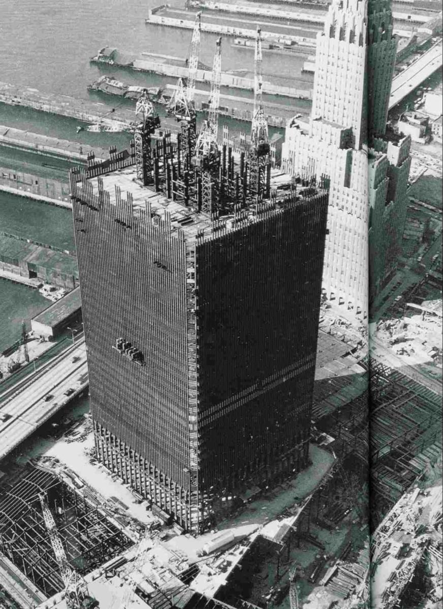 World Trade Center under construction, circa 1968.