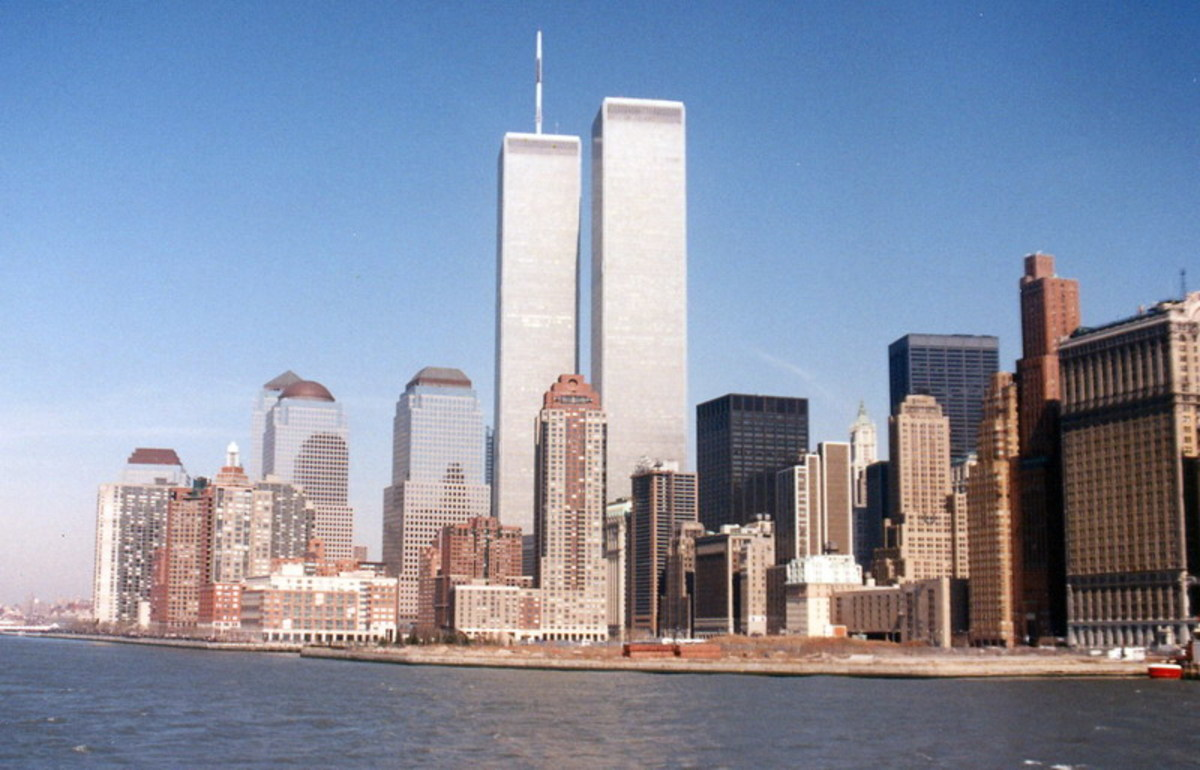 World Trade Center as seen from the Hudson River, circa 1995.