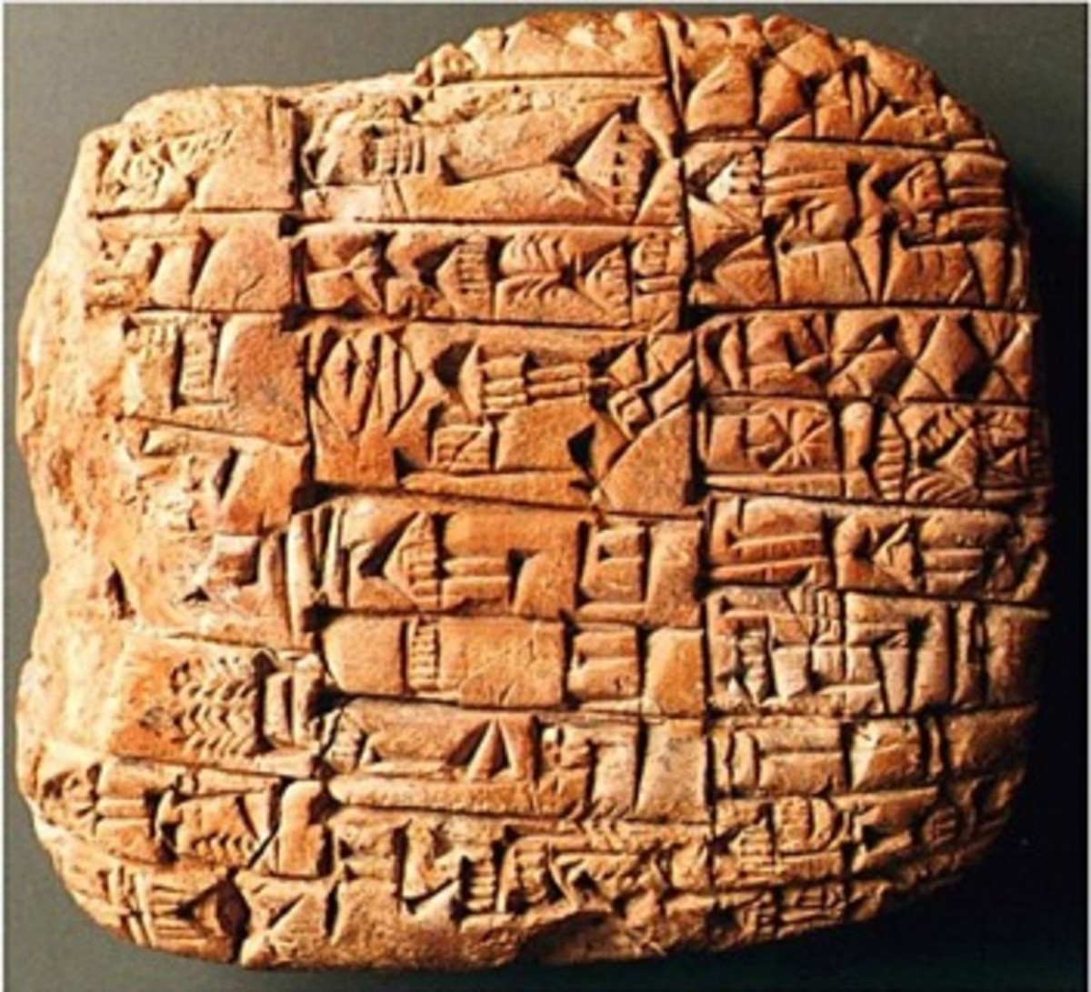 A fragment of a clay tablet depicting the story of Gilgamesh and the Bull of Heaven.