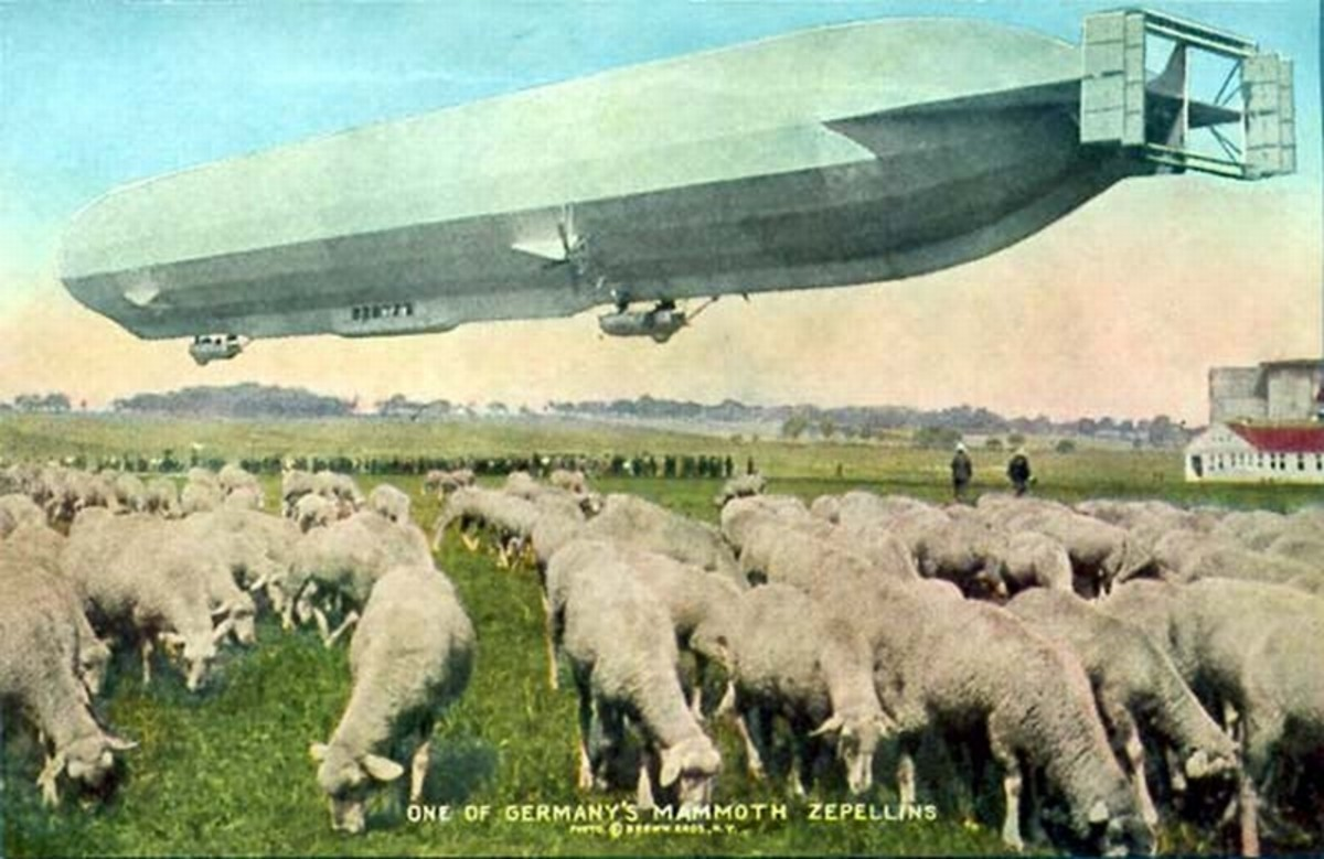 World War One: Pastoral scene showing one of Germany's mammoth zeppelins over grazing sheep.